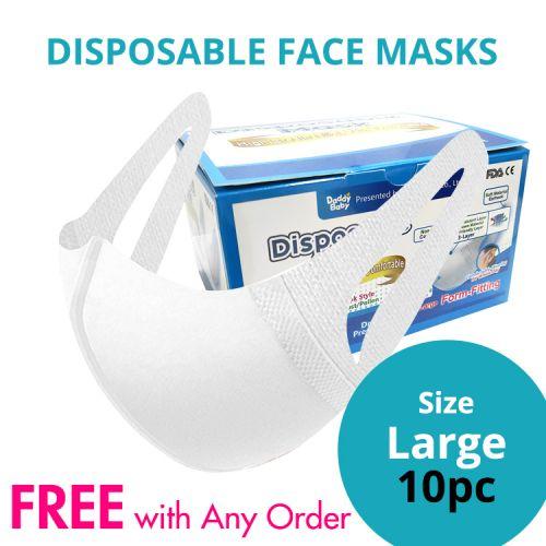 Disposable Protective 3 Ply Face Masks Large Size 10pcs