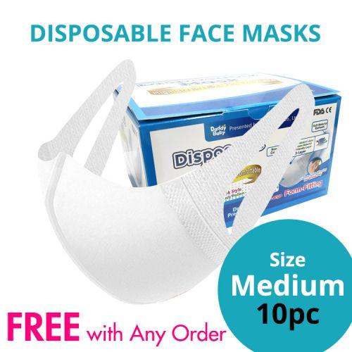 Disposable Protective 3 Ply Face Masks Medium Size 10pcs